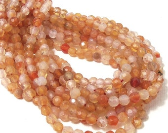 "Agate, Peach, 4mm, Round, Faceted, Gemstone Beads, 15"" Full Strand, 95pcs - ID 1911"