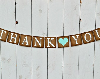 Wedding Thank You Sign  -  Rustic Wedding Sign  -  Photo Prop  -  Wedding Sign -  Wedding Decoration - Love Banner -  Blue