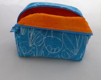 SALE Sketchy Blue Contrasting Orange Boxy Knitting WIP Bag