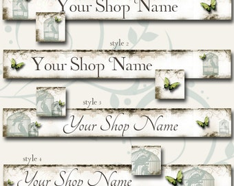Custom SHOP BANNER Set, Green Butterfly, Matching Avatar