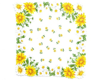 VINTAGE HANKIE, Yellow White Daisies Each Corner on White, Daisies Scattered in Center, Irregular Edge, Corded, Excellent Condition