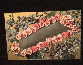 Unusual Victorian Photo Postcard of Flowers - Pink Roses - Violets