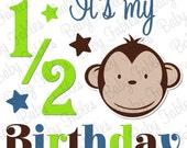 Half Birthday Girl Iron on Transfer Monkey Boy or Owlie Girl 1/2 birthday 6 month birthday Birthday Iron on Heat Transfer Little Girl Boy