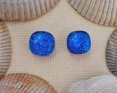 Blue Dichroic Post Earrings, Fused Dichroic Glass Post Earrings, Dichroic Glass Jewelry - True Blue
