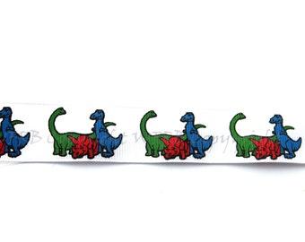 "7/8"" Dinosaur Grosgrain Ribbon - 5 yards - Copyright design - Pacifier Clip Ribbon for Boys - Hair Bow Ribbon - Decorative Ribbon"