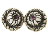 Dainty White and Purple Flower Screw Earrings Molded with Old Plastic on Silver Tone Filigree Frame- Spring Vintage Jewelry Gift For Her