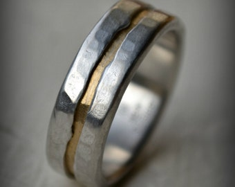 rustic fine silver and brass ring - handmade texturized and hammered artisan designed wedding band - custom stamping - custom ring - river