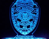 Police - Fireman - or any Service Retirement Cake Topper -  Acrylic -Personalized - Light OPTION