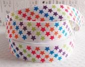 CLEARANCE SALE*FEWW Shipping ~ 3 yards x  Colourful Stars Grosgrain Ribbon - Ribbon Hair Bow-Sewing Notions-Scrapbook Ribbon