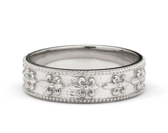 Vintage Style Fleur-de-Lis Wedding Band Ring in White Gold