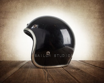 Vintage Black Open Face Helmet, Wall Decor, Wall Art,  Kids Room, Gift Ideas, Motorcycle Prints
