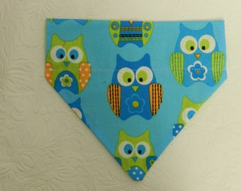 Hoots Looking At You! Blue & Green Owl Pattern. Dog Cat Ferret Reversible 2 in 1 Over the Collar Bandana.