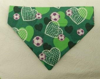 I Love Soccer! Green Hearts & Soccer Balls Sports Team Cheerleader Theme Bandana. Custom For UR Ferret Cat Dog. All Bandanas are Reversible.