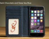 SECONDS SALE - The Bella Fino Wallet Case for iPhone 6/6S - Dark Chocolate and Deep Sea Blue