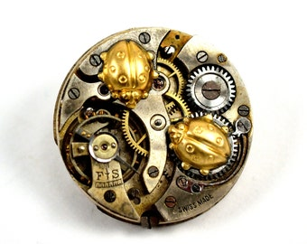 Steampunk Ladybug Pin, Ladybug Brooch, Steampunk Tie Pin, Tie Tack