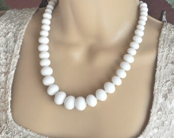 White Onyx Faceted Rondelles and Silver Necklace and Earrings Set