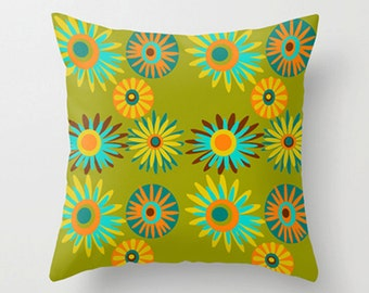 Floral Pillow, Mid Century Modern Throw Pillow, Retro Throw Pillow,  Modern Throw Pillow, Mid Century Pillow, Modern Cushion