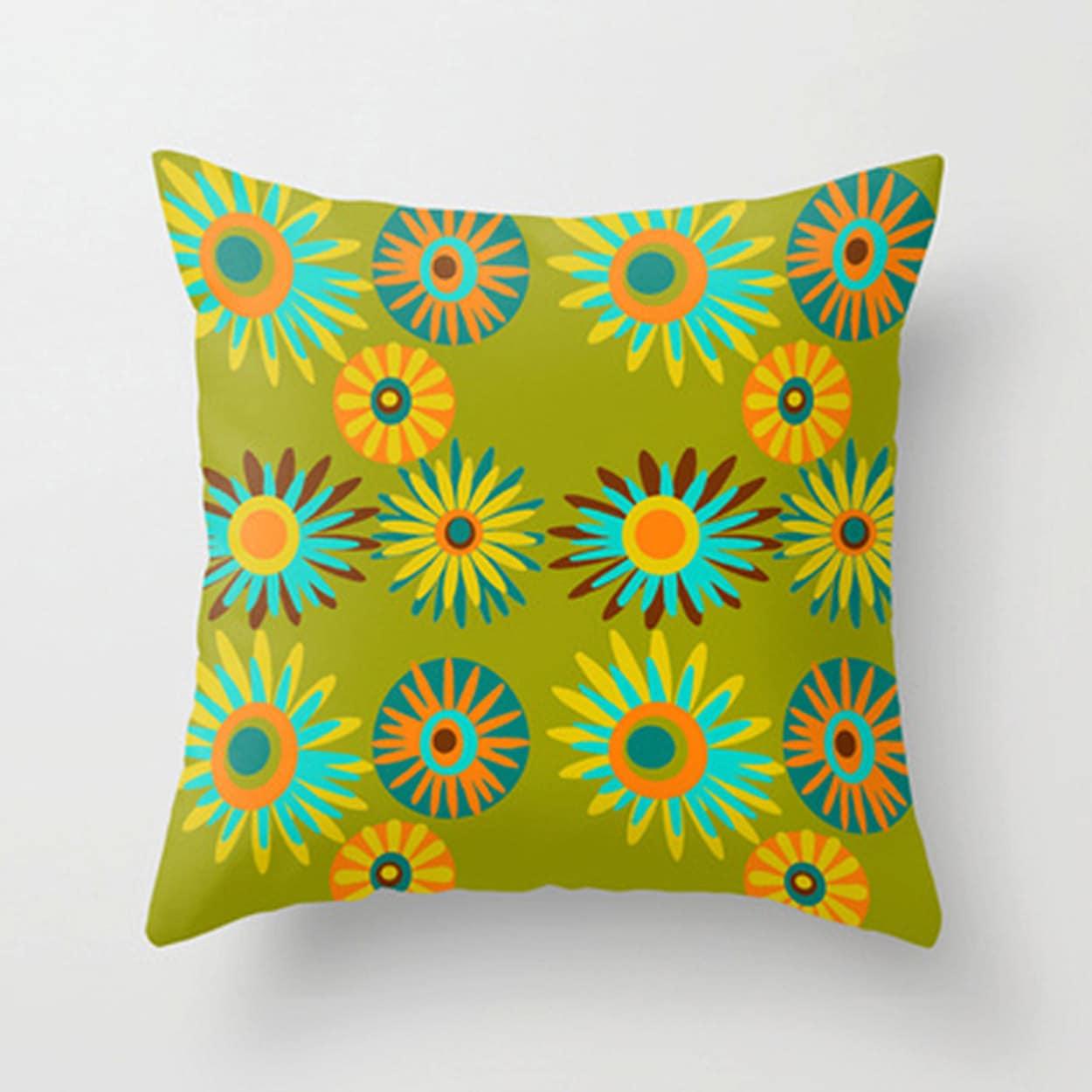 Modern Toss Pillows : Modern Pillow Green Floral Pillow Mid Century Modern