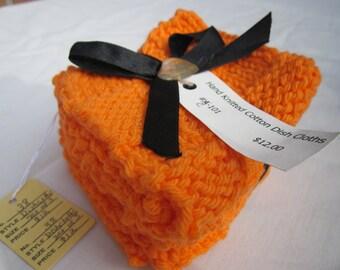 Knitted Dishcloths (set of 3), Triple Orange