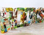 """8"""" Decoupaged  B-O-O-K-S  Letters, Decoupage Vintage Children's Book Pages"""