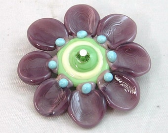 Purple Flower by Mystic Moon Beads SRA U5
