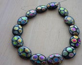 Czech black oval & metallic peacock dot beads 11mm x 9mm set of 14
