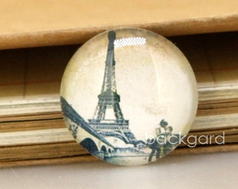 Circle Black Eiffel Tower Photo Glass Cabochon Round Image Magnets Paperweight crystal Dome  10mm 12mm 14mm 16mm 18mm 20mm 22mm 25mm 30mm