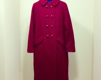 Vintage 60s Mad Men Style Boucle Coat / Burgundy / Donenfeld's - Dayton / Fashioned by Bromleigh - New York / Size M
