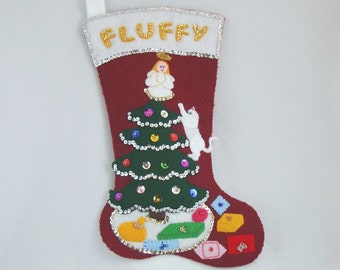 Sequined felt-applique kit to make a cat Christmas stocking