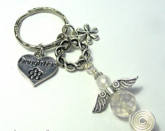 Daughter Guardian Angel Purse or Bag Charm, Rose Quartz Gemstone Angel, Heart Charm