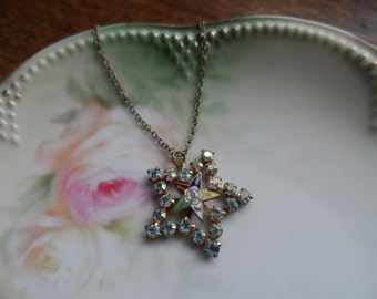Rebekah Lodge Necklace, Star made of Aurora Crystals