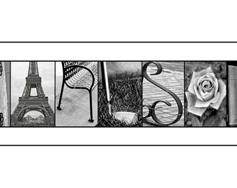 Personalized Family Name Signs - Black and White Print- 10x20 Unframed