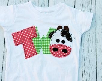 Girl barnyard birthday shirt // two, cow, 2nd,  t shirt, barnyard, farm theme, girl pink green, second, petting zoo,