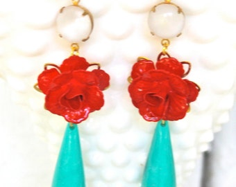 Cherry Red Flower White Opal Turquoise Drop Dangle Earrings - Vintage, Statement Earrings , Wedding, Bridal, Tropical, Beach, Bridesmaid