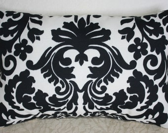 Lumbar Pillow  Waverly Black and Off White Damask Design    14 x 9 inches