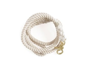 CUSTOM SMALL Rope Dog Lead in White