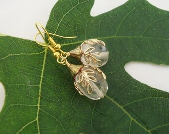 Clear Quartz and Gold Earrings, Christmas Earrings, Snowflakes Earrings, UK Seller
