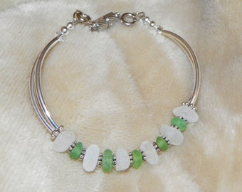 Green and White Real Sea Glass Tube Bead Bracelet