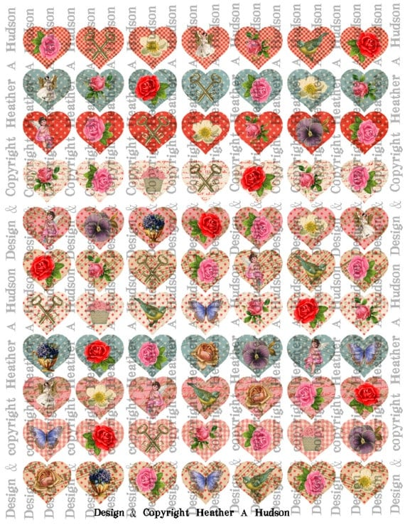 Conversation Hearts Images Card bases VintageValentine's Day Valentine tags Digital Collage sheet Printable