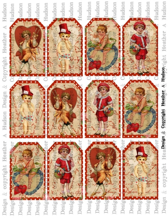 Victorian Vintage Valentine's Day Red Tags Cupids Digital Collage sheet Printable