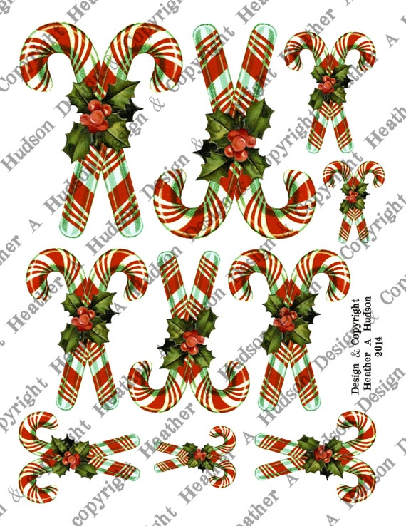 Vintage Shabby Chic Christmas Crossed Candy Canes Candycanes Tags Ephemera Ornaments Digital Collage sheet Printable