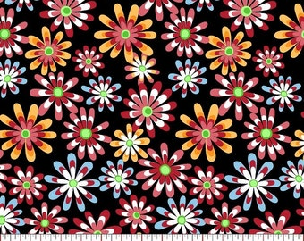 Flower power cotton print fabrics per yard/ Clothing/ Accessories/ Decor/ Quilting/ Crafting and more