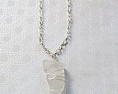 Horn-shaped  Sea Glass Pendant Necklace