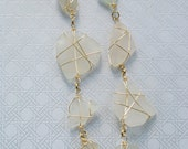 Gold Wrapped White Sea Glass Long Necklace