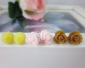 Set of 3 Flower Stud Earrings.  Brown, Pale Pink, Pale Yellow flowers.  Gift for her.