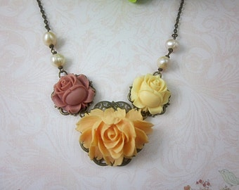 Peach, Ivory, Dark Pink Roses with cream freshwater pearls Necklace. Gift for her. Birthday, Maid of Honor, Mother of the Bride.