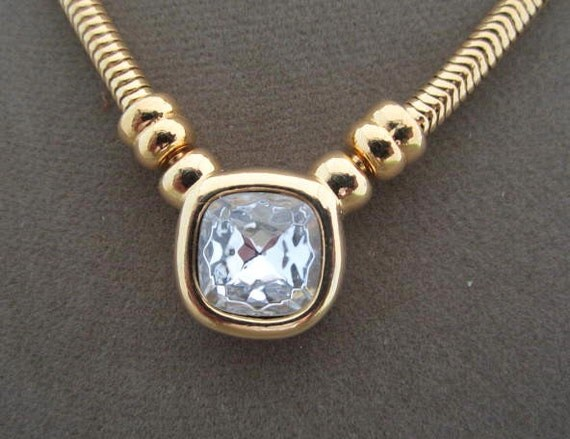 Joan Rivers Clear Cubic Zirconia Gold Chain Necklace