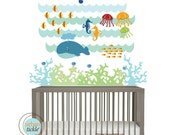 Sea Decal, Kids Wall Decal, Under The Sea,Small, Nursery Artwork, Wall Sticker for Baby Room, Play Room Decals, Whale, Fish, Nautical