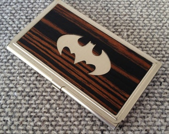 BATMAN Wood Business Card Case Card Holder,Fathers Day Gift,Batman Card Holder,Men's Batman Wallet, Superhero,Wood Card Wallet,Gifts For Him