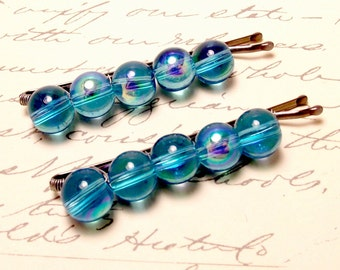 Aqua Blue Holographic Beaded Bobby Pins. Turquoise Metallic Hair Pin Barrettes. Blue Hair Clips Accessory.